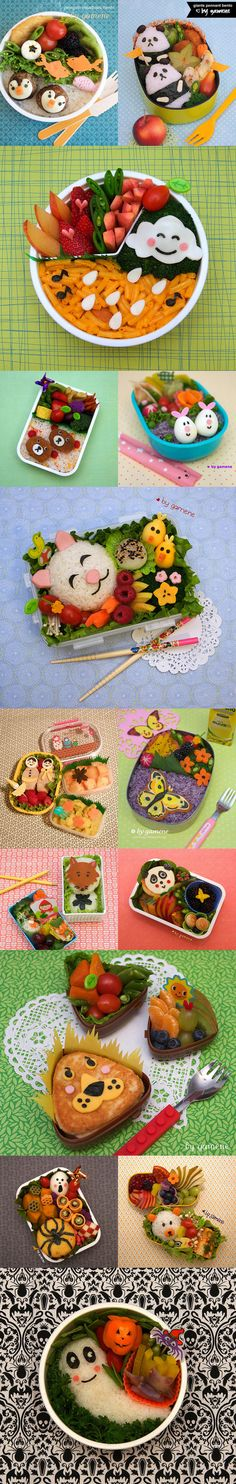 bento boxes - sooo fun, just not sure if they would be appreciated as kindergarden lunch boxes :-) Japanese Lunch Box, Japanese Dishes, Japanese Food, Cute Lunch Boxes, Bento Box Lunch, Essen To Go, Bento Kids, Kawaii Bento, Bento Recipes