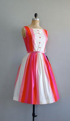 #vintage 1950s Cotton Candy Stripe dress  Pink Dress   #2dayslook  #fashion #nice #new #Pink #Dress  www.2dayslook.com