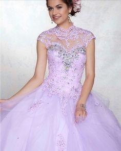 2014Custom Light Purple Ball Gown Quinceanera Dress Beads High Collar Vestido De Festa Backless Dress Vestidos De 15 Anos