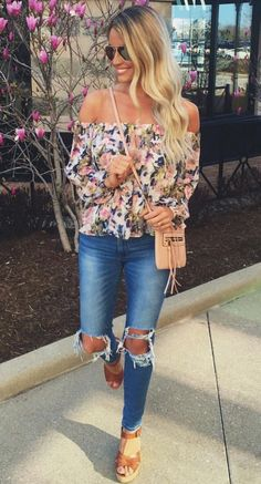 Floral off the shoulder blouse, destroyed denim, & brown platform sandals with a cross-body bag & sunnies.  #alwayscool