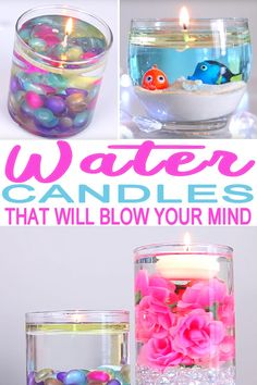 Learn how to make these cute and fun water candles at home. H… DIY water candles! Learn how to make these cute and fun water candles at home. Homemade candles that are quick and easy. Candle DIY you will love! Diy Craft Projects, Fun Diy Crafts, How To Make Crafts, At Home Projects, Diy Crafts Easy At Home, Money Making Crafts, Quick Crafts, Homemade Crafts, Diy Arts And Crafts