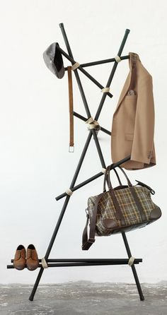 DIY coat rack...love this idea...