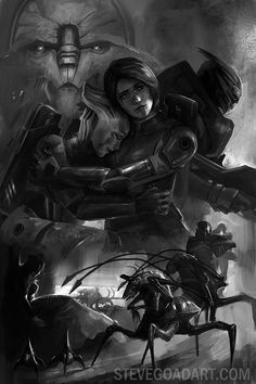 pictures of jack mass effect in black and white | mass effect related artwork i m working on this is the black and white ...