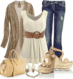 This outfit can be worn without the sweater or with a lightweight cardigan