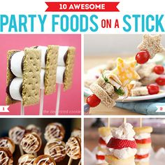 There's one surefire way to make food more festive, exciting, cuter, and maybe even taste better… throw out the plates and put that sucker on a stick. No one's ever met a party food on a stick they didn't like, am I right? Cute Snacks, Snacks Für Party, Party Treats, Finger Food Appetizers, Appetizers For Party, Food Humor, Funny Food, Party Canapes, Food On Sticks