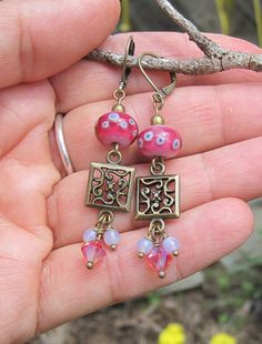 Pink lampwork bead earrings crystal dangles Boho by alanabobanna, $18.95