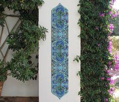 Garden Decorative Tiles Circle Garden Decor With Mandala Design Outdoor Wall Art Glazed