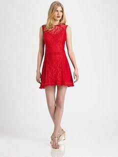 Red Lace Shift Dress