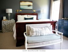 eclectic furniture, painted dressers, simple, matching nightstands, matching elegant lamps, end bench