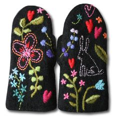 felted and embroidered mittens from Finland