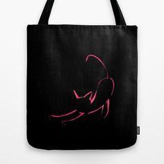 Vintage Black Cat Sketched Outline in Hot Pink Tote Bag