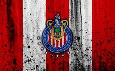 Download wallpapers 4k, FC Guadalajara Chivas, grunge, Liga MX, soccer, art, Primera Division, football club, Mexico, Guadalajara Chivas, stone texture, Guadalajara Chivas FC