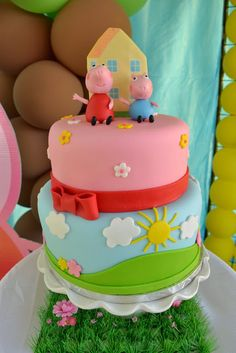 Photo 4 of Peppa Pig / Birthday & Pig Party& Tortas Peppa Pig, Bolo Da Peppa Pig, Peppa Pig Birthday Cake, Peppa Pig Cakes, Petit Cake, Pig Party, 3rd Birthday Parties, 2nd Birthday, Birthday Ideas