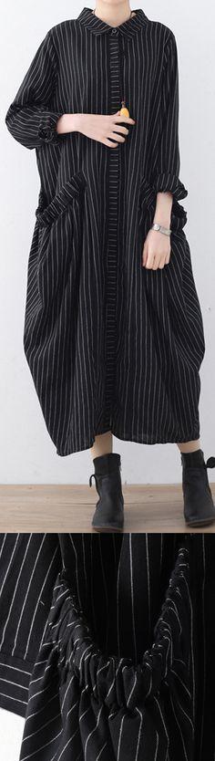 Elegant black striped  cotton dresses oversize big pockets traveling dress boutique shirt collar gown5