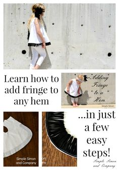 How to Add Fringe to a Hem for $5 Friday - Simple Simon and Company