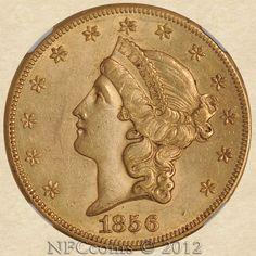 1856-S Twenty Dollar Gold Liberty AU58 NGC, obverse