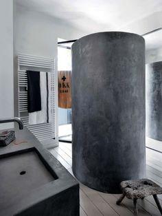 concrete, shower