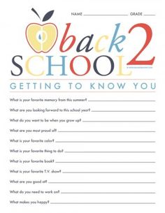 Back To School - Getting to Know You Questionnaire Printable