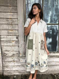 "Romantic/Tattered/Rustic/Boho/Gypsy upper part of dress is made with linen lower part is made with linen and has two added pockets and tie along back Size-large xlarge Chest-44"" Hips-free Length-44"""