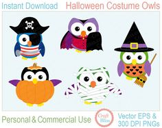 Commercial Use Halloween Clip Art Halloween Costume Owls ClipArt by craftbliss, $5.00