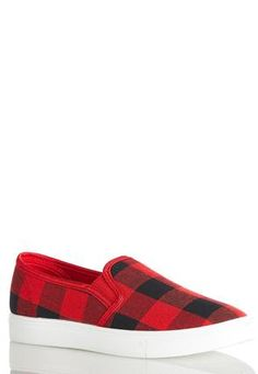 Plaid Slip-On Sneakers Sneakers Cato Fashions