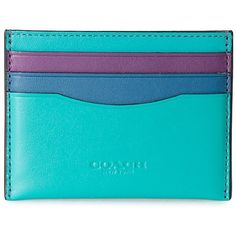 Coach Leather Card Holder ($94) ❤ liked on Polyvore featuring bags, wallets, fillers, blu, leather card case wallet, colorful leather wallets, genuine leather credit card holder wallet, leather wallets and leather bags