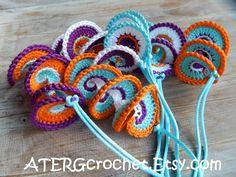 Spiral crochet ornament set by ATERGcrochet (ready to ship)