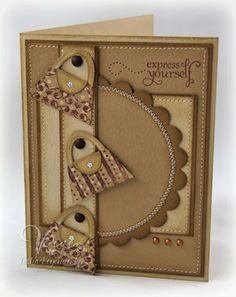 handmde greeting card ,,, Elevator Challenge # 26 ... monocromatic browns ... three adorable purses on s layered design background .. like it!!