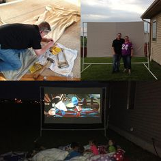 Homemade Outdoor 6ft X 9ft Movie Screen - Get everything at Menards.   Parts list: 5 pieces of 10 ft PVC pipe, 4 PVC t's and 2 PVC nineties, tarp grommets and rope toggles for tarps.