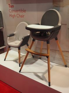 Talk about a good-looking high chair! The Tuo ($150), with its wood legs and leather finish, debuts in Janu...