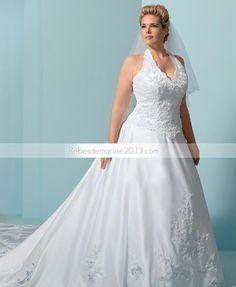 Graceful A-line Appliques Halter cathédrale Floor-Length Plus Size robe de mariée