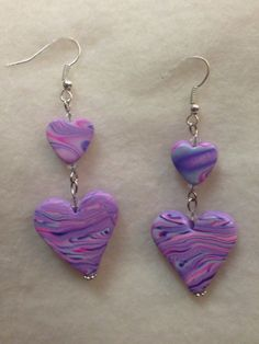 Pink and Lavender Polymer Clay Earrings  One of a by VickieBeadia, $7.00