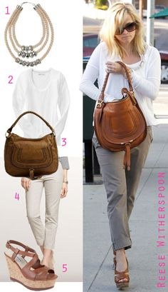 Reese Witherspoon ran errands in a white top, cuffed khakis and cognac sandals. Her Chloe bag and neutral yet statement-making necklace add fashionable details. Here's how you can recreate Rees. Mode Outfits, Casual Outfits, Spring Summer Fashion, Autumn Fashion, Reese Witherspoon Style, Cognac Sandals, Diva Fashion, Womens Fashion, Budget Fashion