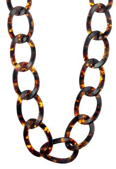 Danielle Stevens Jewelry Resin Chunk Chain Link Necklace In Tortoise