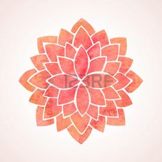 abstract flowers: Watercolor red lotus Flower pattern on white background