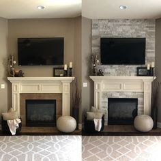 AirStone Fireplace Makeover (before and after) - My Kind Of Airstone Fireplace, Fireplace Update, Brick Fireplace Makeover, Home Fireplace, Fireplace Remodel, Living Room With Fireplace, Fireplace Design, Living Room Decor, Fireplace Ideas