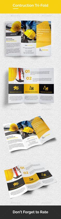 Contruction Tri-Fold Brochure Template PSD