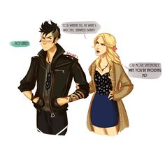How punk!Percy confronts his feelings: he doesn't.--- I like Annabeth's outfit
