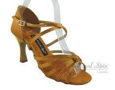 Natural Spin Latin Shoes(Open Toe):  M1103-02_GoldCS
