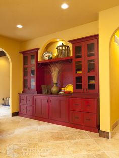 Love the built in hutch/china cabinet...but not the colors!