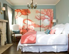 coral and white bedroom