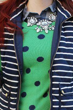 Fall fashion: Preppy pattern play mixing stripes, polka dots, and plaid! (www.thetrendysparrowblog.com)
