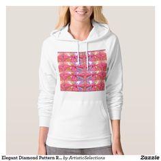 Elegant Diamond Pattern Rose Pink Smile Happy Show Hoodie