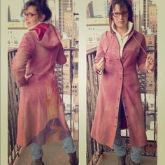 1970s Suede Original Hand-sewn Coat No one else can share your limelight in this One-of-a-kind, Canadian handsewn, --dyed, & -embroidered work of vintage '70s art. The layers of different colored suede make an even more impressive statement as you leave, the hood is simply adorable, & the empire waist flatters while showing off the craftsmanship of this masterpiece as the A-lined length drapes your body or blows in the wind. Truly exceptional! Perfect condition. vintage  Jackets & Coats