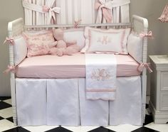 Classic Baby Girl Crib Bedding with Monogram