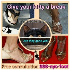 Stop scaring the cat Call NYC FOOTCARE 888-nyc-foot / nycfootcare.com 212.385.2400 #NYC #pedicure #highheels #l4l #toes #makeup #manhattan #bronx #brooklyn #queens #fashion #fashionista #heels #ugly...