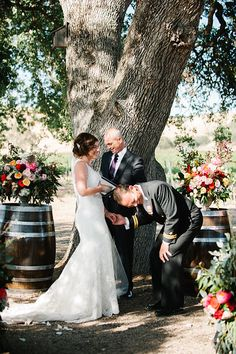 Oak tree ceremony // wedding vows // Cass Winery // Paso Robles Winery // Vineyard wedding // wine barrels // www.casswines.com // Photo from Brittany + Tim collection by Austyn Elizabeth Photography, LLC