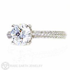 Platinum Pave Diamond Moissanite Engagement Ring Moissanite Ring Conflict Free Diamond Alternative Custom Bridal Jewelry