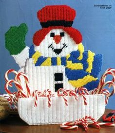 Plastic Canvas Crafts | Snowman Basket Plastic Canvas Craft Pattern Directions