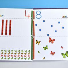 Cuaderno diverdidáctico para que niños de 3 a 6 años trabajen de un modo comprensible el concepto de cantidad y el valor posicional (unidades y decenas).